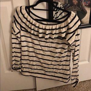 Striped J Crew Off-Shoulder Sweater